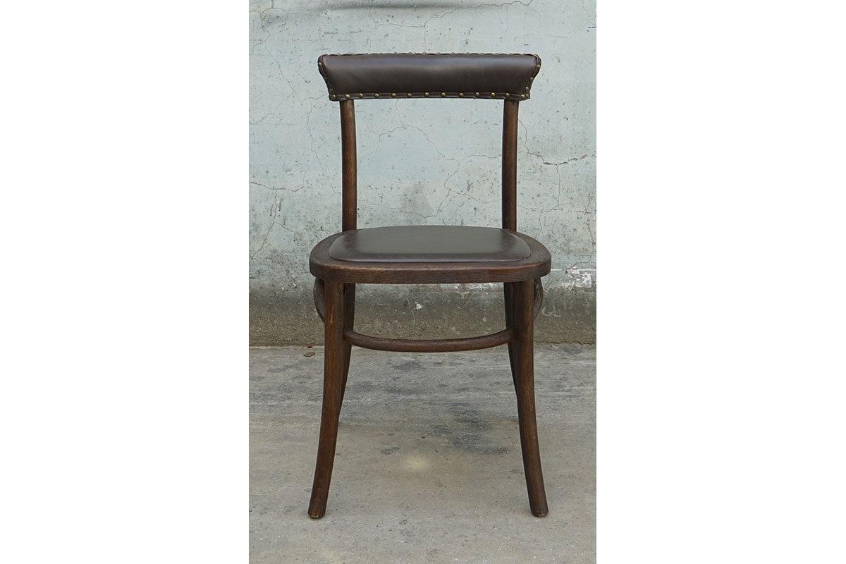Sedia vintage con seduta in pelle (coppia)